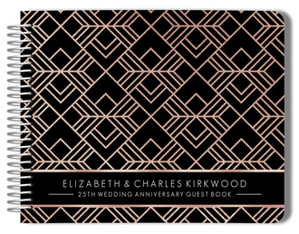 Black and Faux Rose Gold Pattern Anniversary Guest Book
