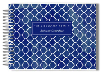 Navy Tile Pattern Bathroom Guest Book