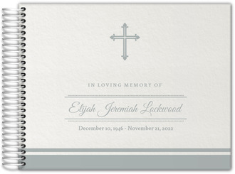 Classic Gray Cross Funeral Guest Book