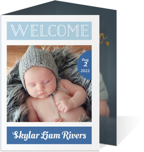 Modern Blue Welcome Photo Trifold Birth Announcement