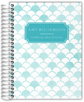 Teal Watercolor Scallop Pattern Wedding Journal