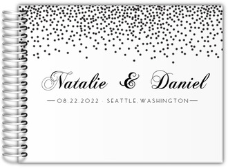 Elegant Black Confetti Wedding Guest Book