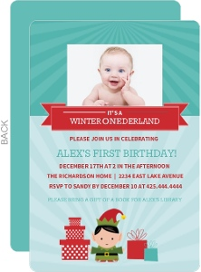 Turquoise and Red Banner Elf Holiday First Birthday Invitation