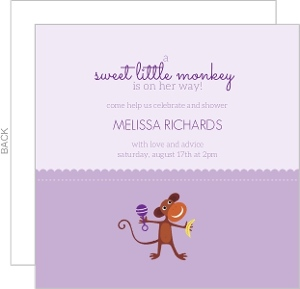 Two Tone Purple Monkey Baby Shower Invitation