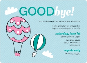 hot air balloons farewell party invite | going away party invitations, Party invitations