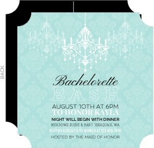 Mint Chandelier and Damask Bachelorette Party Invitation