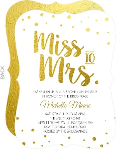 Miss To Mrs Faux Foil Bachelorette Party Invitation