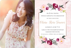 Floral Accent Photo Graduation Announcement Magnet