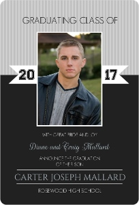 Black Simple Photo Graduation Announcement