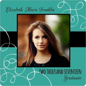 Turquoise Swirl Graduation Announcement
