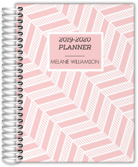 Pink Stripe Chevron Monthly Planner
