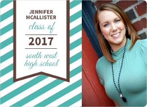 Turquoise Stripes Graduation Announcement
