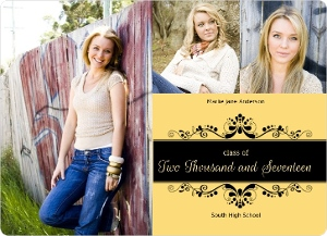 Formal Yellow Graduation Announcement