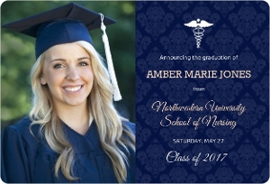 Damask Pattern Nursing School Graduation Announcement Magnet