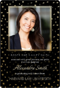 Black & Faux Foil Confetti Graduation Announcement Magnet