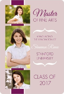 Purple Ribbon Modern Graduation Invitation