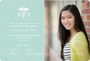 Mint Green RN Photo Graduation Announcement Magnet