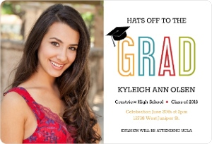 Modern Colorful Letters Graduation Announcement