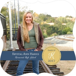 Gold Monogram Graduation Announcement