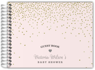 Glittery Pink Gray Baby Shower Guest Book