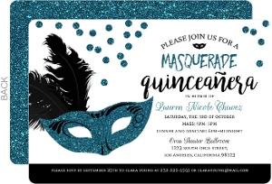 Black Turquoise Masquerade Quinceanera Invitation
