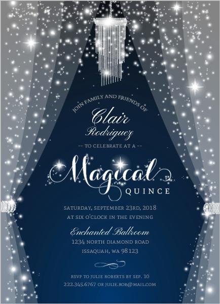 Sparkly & Magical Quinceanera Invitation | Quinceanera ...