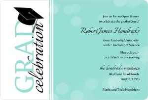 Turquoise Bubbles Graduation Party Invitation