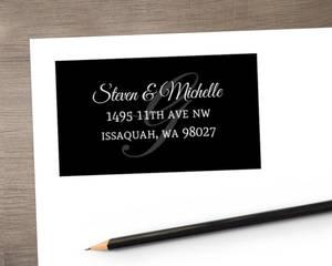 Classy Background Initial Address label