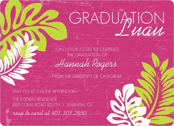 Pink Green Luau Graduation Invitation