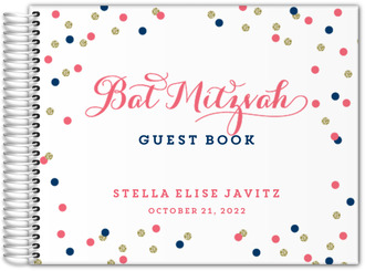 Pink and Navy Confetti Bat Mitzvah Guest Book