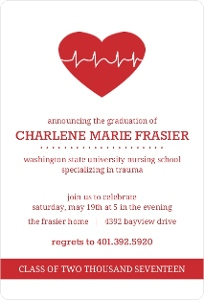Red Heart Nursing School Graduation Invitation
