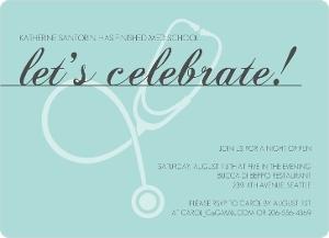 Elegant Turquoise Med School Grad Invite