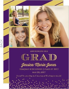 Purple and Gold Faux Foil Graduation Magnet