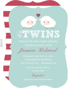 Two Cute Sheep Twins Baby Shower Invitation