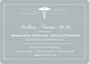 Gray Striped Med School Grad Invite Magnet