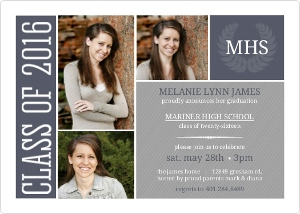 Blue Simple Monogram Graduation Invitation