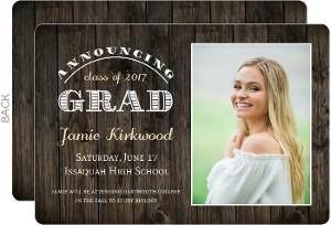 Rustic Woodgrain Portrait Graduation Announcement