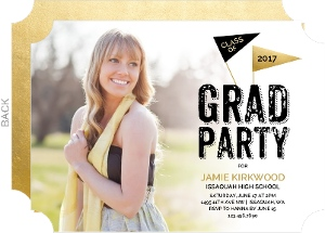 Gold Celebratory Flag Graduation Invitation