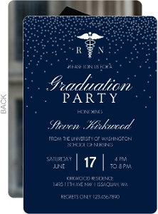 White Confetti Nusing School Graduation Invitation
