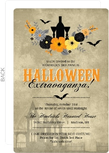 Rustic Fall Flowers Halloween Party Invitation