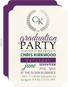Silver Foil Wreath Word Cloud Graduation Invitation