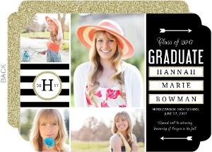 Sophisticated Glitter Graduation Announcement