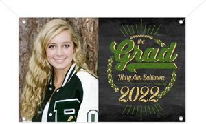 Rustic Green Chalkboard Graduation Banner