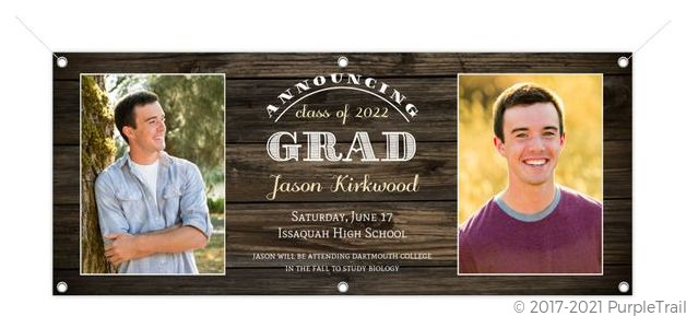 Rustic Woodgrain Portrait Graduation Banner