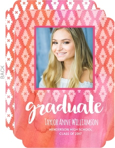 Pink Watercolor Aztec Pattern Graduation Announcement