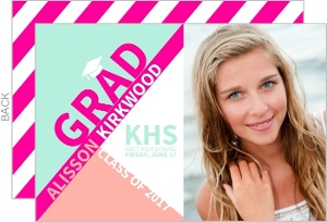 Modern Pink & Mint Typography Graduation Photo Announcement