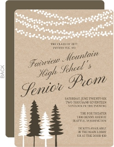 Lights And Rustic Trees Prom Invitation