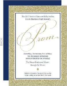 Navy and Gold Glitter Prom Invitation