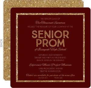 Burgundy & Gold Glitter Prom Invitation