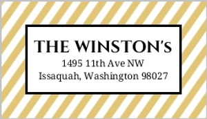 Black And Gold Stripes Address Label